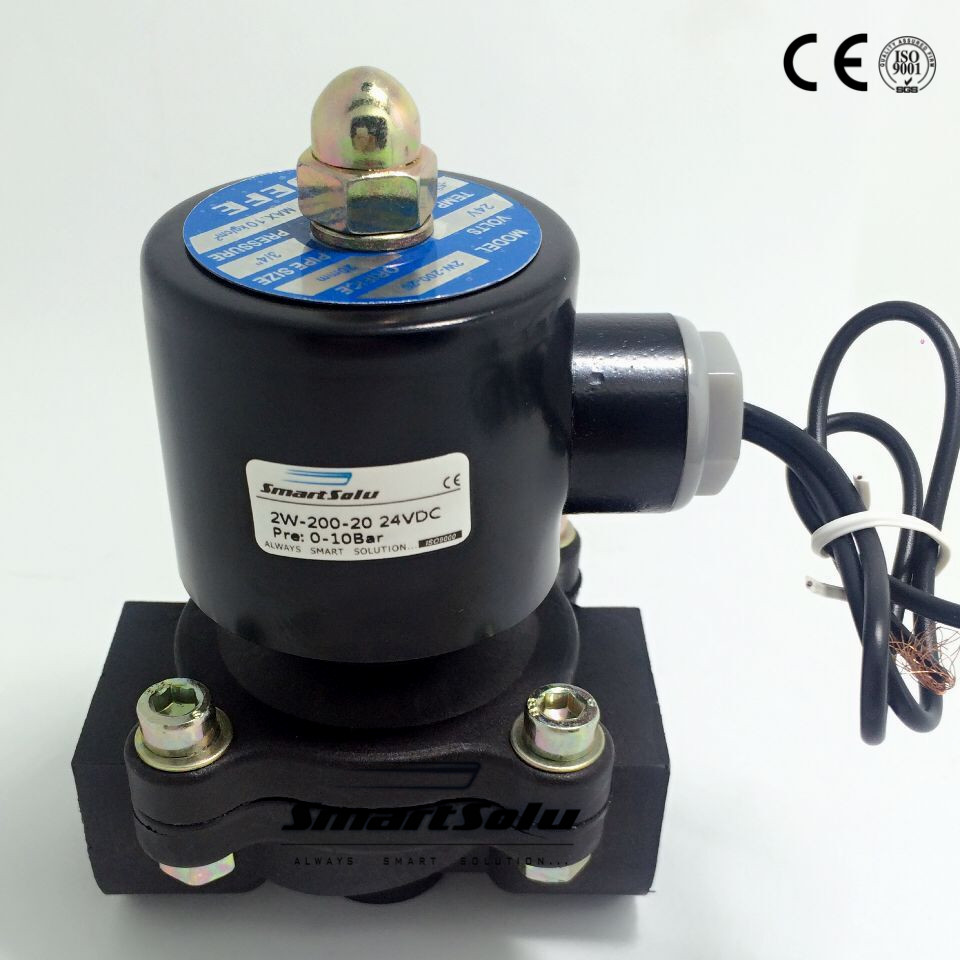 2W-200-20P Free shipping 3/4 Inch DN20 Electric Engineering Plastic ABS Air Gas Water Solenoid Valve NC 24V DC ,<br>