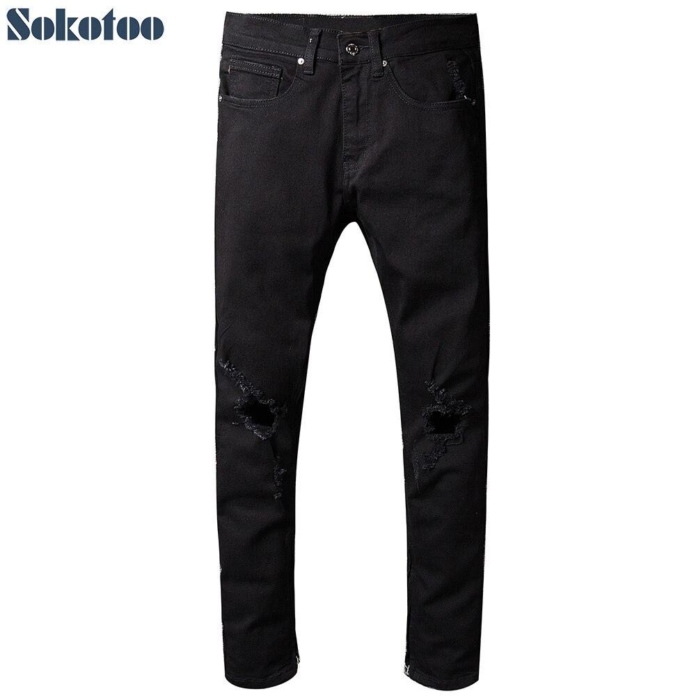 Sokotoo Mens black holes ripped jeans Casual plus size zipper bottom distressed torn denim beggar pantsÎäåæäà è àêñåññóàðû<br><br>