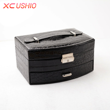 Crocodile Grain PU Leather Jewelry Storage Box Fashion Jewelry Organizer Case Rings Jewelry Boxes Birthday Gifts for Women Girls