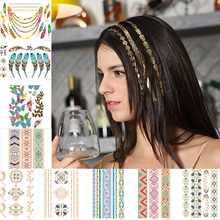 Temporary Hair Tattoo Taty Henna Metallic Temporary Tattoos Women Stickers Hair accessory hair tattoo trendy Tattoo L4