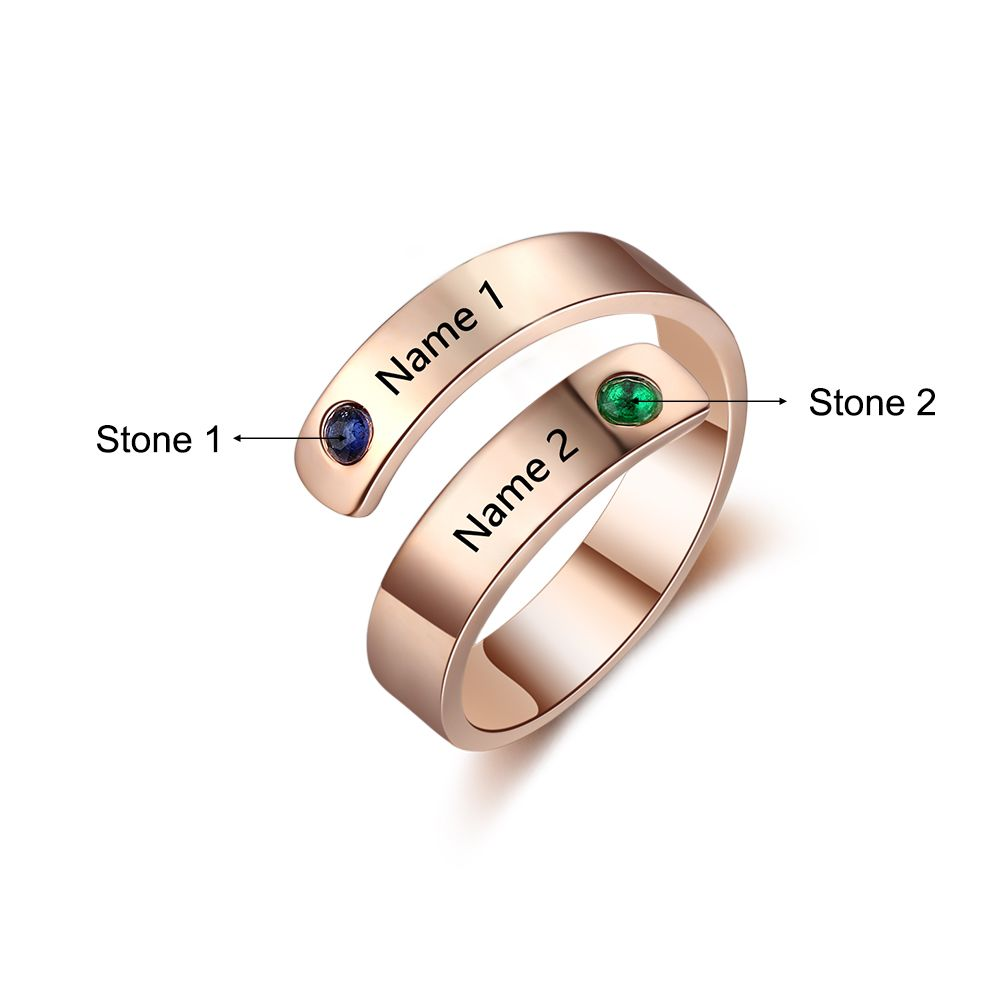 Golden Personalized Birthstone Ring