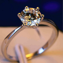 Wholesale Fashion Jewelry Solitaire 1Ct Claw 925 sterling silver white AAA CZ stones Finger Wedding Band Ring Gift Size 4-10