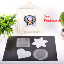 1Set=4PCS 3mm Mini Hama/Fuze/Perler Beads Pegboards  DIY Kids Craft Plastic Stencil Jigsaw Puzzle (Square+Heart+Round+Six Star)