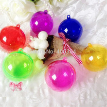 Free shipping,6cm red,purple,pink,blue,green colored transparent clear plastic hanging christmas ball ornaments,candy box ball(China)