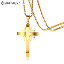 Fashion Mens Rock Hip Hop Bling Bling Stainless Steel Cross Gold Chain Pendant Necklace(China)