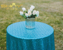 High Quality ShinyBeauty 108inches Round Sequin Tablecloth, Turquoise Wedding Party Table Decoration &a(China)