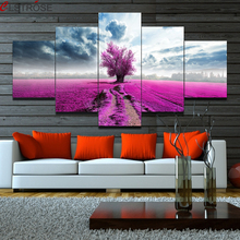 CLSTROSE Hot Sale Rushed Unframed 5 Piece Lavender Flowers Landscape Modular Wall Painting Art Canvas For Living Room Pictures(China)