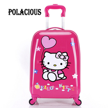 "2016New 18""Girl Children Suitcase Luggage,Child Kid Boy Girl Princess Cat  ABS Cartoon trolley case box Traveller Pull Rod Trunk"