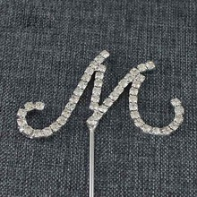 Practical Silver Alphabet Letter Rhinestone Crystal Monogram Wedding Cake Topper Decoration M