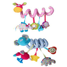 Cute Baby Stroller Crib Winding Twist Hanging Toy with Music Box Lovely Soft Plush Animal Rattle Toy Sound Bells Kids Grasp Toy(China)