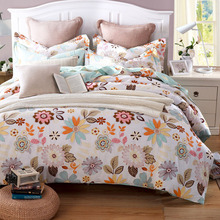 4pcs/set Twill Bed Set Cover Fashion New Design Flower Printed Hot Sale Home Decor 100% Cotton Duver Set Cover