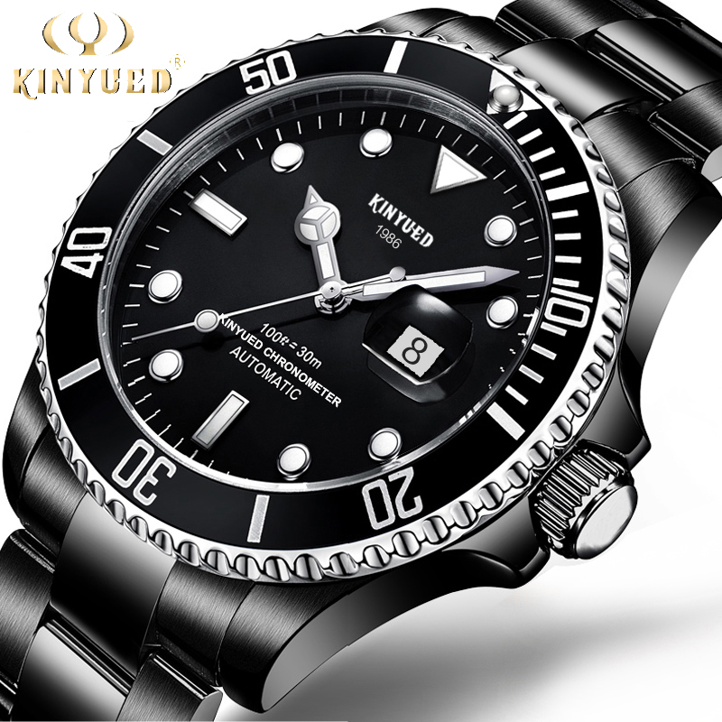 KINYUED Mechanical Watches for Men Waterproof Luminous Hands Automatic Watch Auto Date Steel Band relogio masculino de luxo <br>