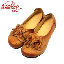 2017 Handmade Retro Flowers Women Shoes Flat Heel Leather Shoes National Wind Grain Leather Soft-Soled Shoes Women For Gifts