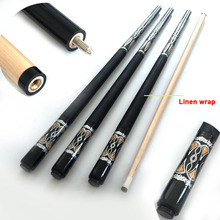 Free shipping Professional Pool Cues 13mm Billiard Cues Black 8 Linen/leather wrap 1/2 split cue stick Billiard accessories(China)