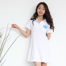cotton summer kids dress active teenage little girl clothes children dresses girls new 2017 blue white short sleeve girl dress(China)