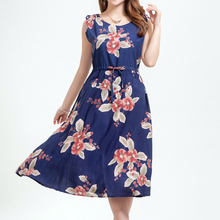 New summer Fashion Women Floral Clothing Plus Size Pleated Casual Ruffles Sleeveless Flowers print Dress Vestidos Femininos