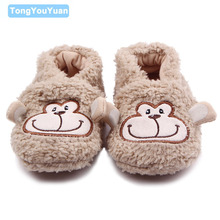 New Arrival Cute Plush Soft Sole Elephant Monkey Rabbit Sheep Cotton Newborn Baby Boy Girl Shoes For 0-15 Months