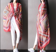 Clearance - summer new fashion geometric print cotton Ms. wild beach towel cape(China)