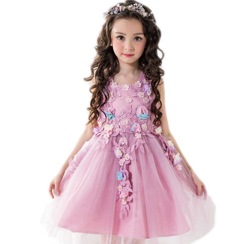 2017 new summer Purple flower fairy child dress girls princess dresses embroidery flower girl wedding costume kids poncho dress<br>
