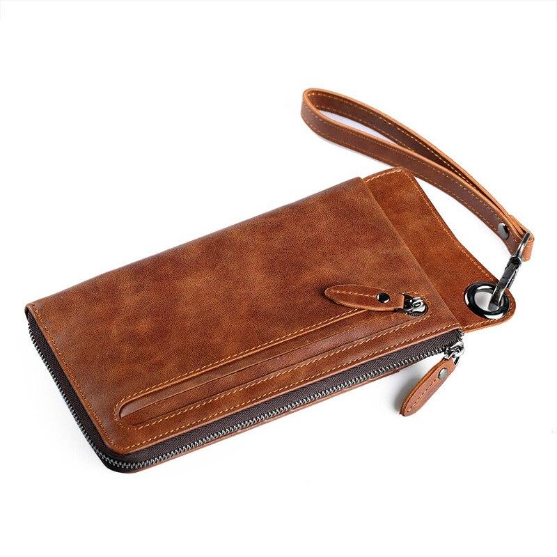 Fashion Wallet Men Purse Genuine Leather Purse Mens Wallet Multi-card bit Wallets Mens Coin Clutch Male Vintage Clutch Purses<br>