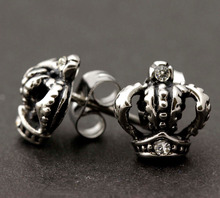 1Pair Women Mens Stainless Steel The king An crown Ear Stud Earrings Hot Vintage