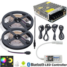 10m RGB LED Rope Light 12V SMD 2835 LED RGB Tape IP20 No Waterproof Flexible LED Strip Ribbon String+Bluetooth Controller+Power