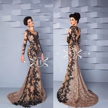 Mermaid Black and champagne evening Dresses long sleeves 2017 sequin lace evening gowns kaftan dubai dresses muslim long evening
