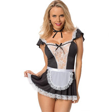 Buy 2018 Lenceria Sexy Maid Uniform Erotic Costumes Women Sexy Lingerie Hot Baby Doll Erotic White Lace Porn Sex Women's Underwear