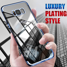 Transparent Plating case for Samsung Galaxy S8 cases Ultra thin soft TPU electroplate shining case for Samsung S8 plus cover(China)