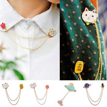 2016 1PCS Hot Sale Fashion Collar Brooch Cute Egg Cat Moon Rabbit Chain Brooch Badge Pin Jewelry Gift Women Girl Accessories