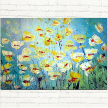Hand Painted Modern Abstract Flowers Textured Impasto palette Knife Impressionist Oil Painting white,yellow,blue