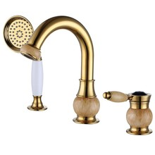 Luxury  gold Solid brass Jade stone waterfall Bathroom Sink Faucet Basin Vanity Mixer Tap with brass handheld shower head