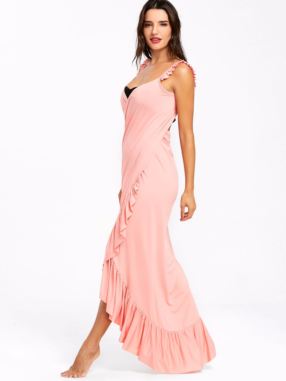 VESTLINDA Beach Dress 2018 Summer Long Flounce Wrap Dress Women Spaghetti Strap Maxi Dresses Robe Femme Sexy Vestidos De Festa 14
