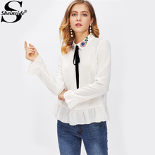 Sheinside Frilled Cuff And Hem Embellished Rhinestone Collar Equipment Blouse 2017 White Lapel Collar Long Sleeve Work Blouse(China)