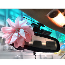 free shipping girls' korean cute flower lovely personality automotive interior review mirror cover car decoration supplier(China)