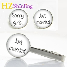 2017 New Wedding Quote Clips & Cufflinks Set Sorry Girls Just Married Cufflink Love Glass Tie Clip Gifts For Men Women CT-0017(China)