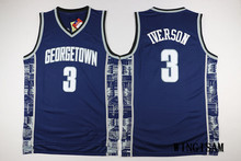 WINGISAM Cheap Georgetown Hoyas #3 Allen Iverson All Stitched College Retro Basketball Jersey Embroidery Logos Drop Shipping