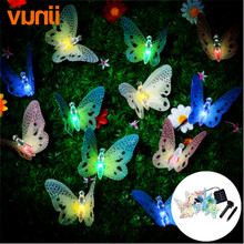 Yunji Solar Lamps 3.5M 12LED Optical Fiber Butterfly Fairy Outdoor Solar Light for Holiday Wedding Decoration String Lighting