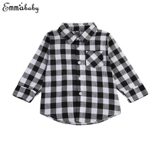 Baby Kids Blusas Boy Girl Long Sleeve Shirt Black And White Plaid Check Tops Blouse Casual Pocket Blouse Long Shirts Clothes(China)
