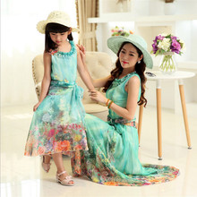 New fashion Family Matching Outfits Mother and daughter Summer Girl clothes Princess dress casual dress Beach Dress