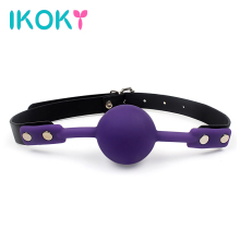Buy IKOKY PU Leather Band Mouth Gag Flirting Sex Toys Couples Adult Game Silicone Ball Erotic Product Oral Fixation Sex Bondage for $3.70 in AliExpress store