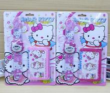 New 12 pcs  Cartoon Popular Hello Kitty Clap watch Digital watches and Wallet Sets Children Toy Gift  A-99