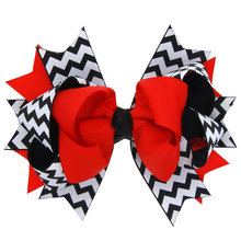 12cm Big Chevron Hair Bows with Ribbon Lined Clips,Little Girls Hairbow,Boutique Bows Red Black White Lavender Blue Green