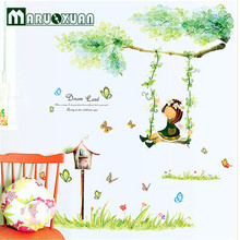 Green Dream Wall Stickers Swing Girl Wall Decals Tree Flowers Wall Stickers Decorative Butterfly Cartoon Kids Room Stickers