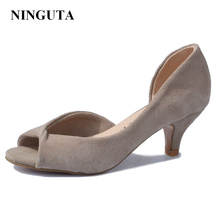 Sexy Genuine Leather peep toe women pumps high heel shoes woman ladies shoes