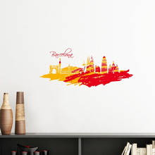 Hand-painted City Silhouette Red Yellow Barcelona Art Removable Wall Sticker Art Decals Mural DIY Wallpaper for Room Decal