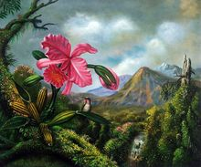 Hand Painted Flower Painting Decoration Painting Orchid and Hummingbird Near a Mountain Waterfall, 1902 by Martin Johnson Heade