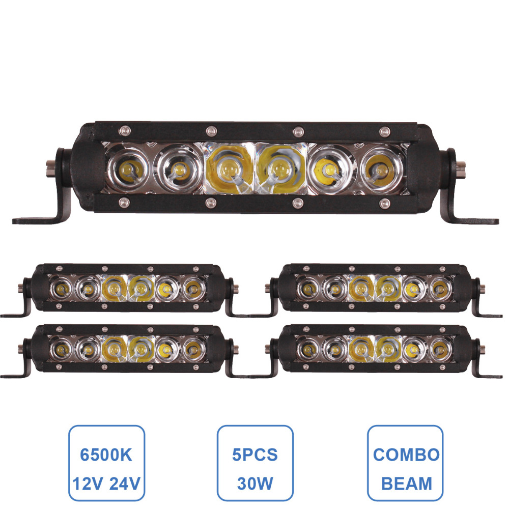5pcs 30W LED WORK LIGHT BAR SLIM SPOT FLOOD COMBO BUMPER DRIVING LAMP 12V 24V CAR AUTO TRUCK TRAILER TRACTOR HUNTING HEADLAMP<br><br>Aliexpress