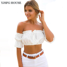 YJSFG HOUSE Casual Sexy Women Clothes Off Shoulder Crop Top Blouse 2017 Summer Solid Black Red White Tops Shirts Boho Blusas