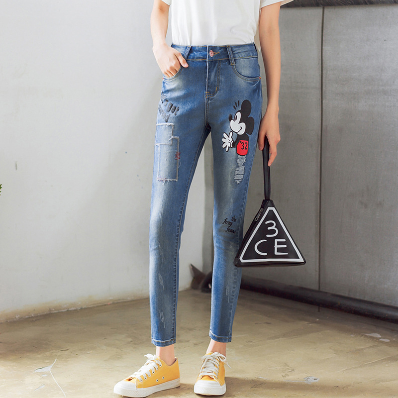 Kesebi 2017 Spring Summer New Hot Female Patchwork Washed Trousers Women European Hole Zipper Button Casual Ankle-length JeansОдежда и ак�е��уары<br><br><br>Aliexpress
